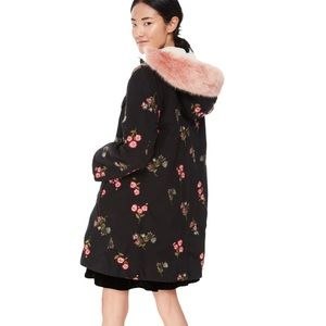 Kate spade Floral Embroidered Twill Parka Coat XS